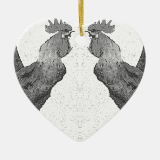 Hähne Keramik Herz-Ornament