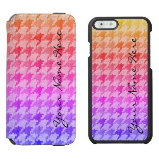 Hahnentrittmuster-heller rosa Lavendel Ombre Incipio Watson™ iPhone 6 Geldbörsen Hülle
