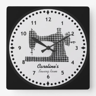Hahnentrittmuster-Karo-Nähmaschine-Wand-Uhr Quadratische Wanduhr