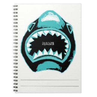 Haifisch-Aquarell-Grün-Illustration Spiral Notizblock