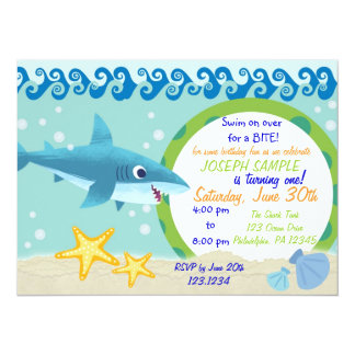 Haifisch-Geburtstags-Einladung Karte