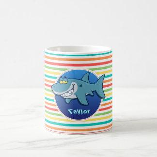 Haifisch; Helle Regenbogen-Streifen Tasse