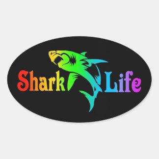 Haifisch-Leben Ovaler Aufkleber