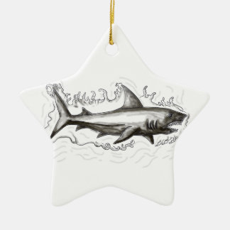Haifisch-Schwimmen-Wasser-Tätowierung Keramik Ornament