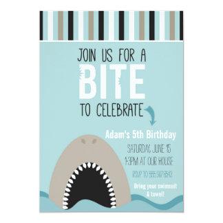Haifisch-u. Streifen-Geburtstags-Einladung 12,7 X 17,8 Cm Einladungskarte