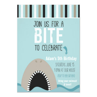 Haifisch-u. Streifen-Geburtstags-Einladung Karte