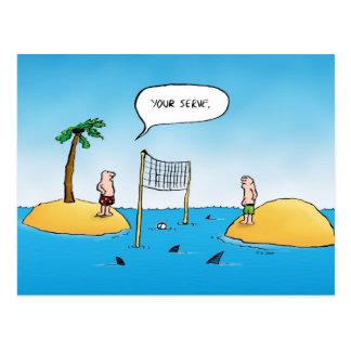 Haifisch-Volleyball-lustige Cartoon-Postkarte Postkarte