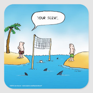 Haifisch-Volleyball-lustiger Cartoon Quadratischer Aufkleber