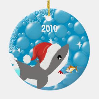 Haifisch-Weihnachtsfamilien-Foto-Verzierung Keramik Ornament
