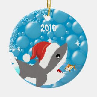 Haifisch-Weihnachtsverzierungs-Ferien-Andenken Keramik Ornament