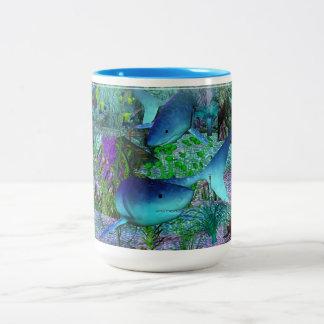 Haifische der Erforschungs-3D Zweifarbige Tasse