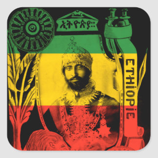 Haile Selassie Aufkleber-rotes Goldgrün Rasta Quadratischer Aufkleber