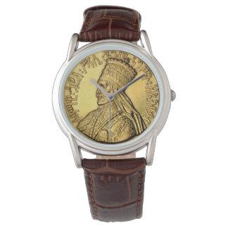 Haile Selassie Uhr-alter goldener König Design Uhr