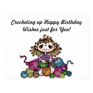 Häkelnde Geburtstags-Wünsche Postkarte