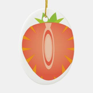 halbe Erdbeere Ovales Keramik Ornament