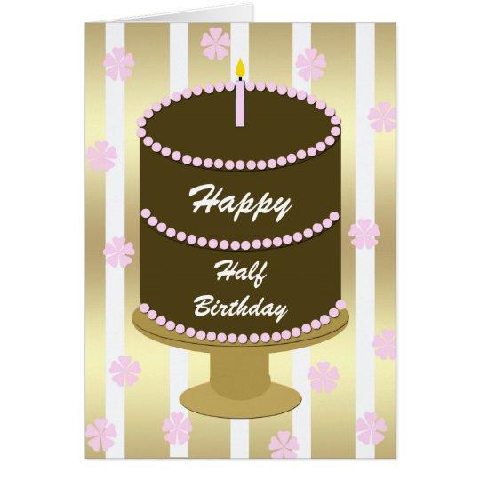 Halbe Geburtstags-Karte -- Rosa Geburtstags-Kuchen Grußkarte