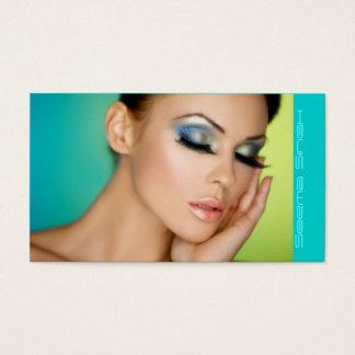 Halbes Gesicht des Make-upkosmetikkünstlers Visitenkarte