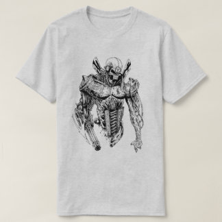 Halbes Skelett - halber Roboter T-Shirt