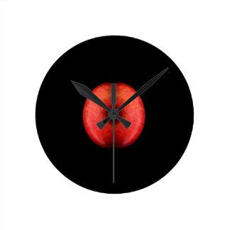 Hälfte zwei der roten Apple-Kunst-Fotografie Runde Wanduhr