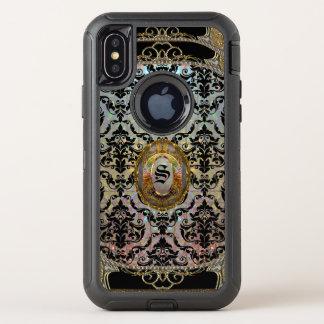 Halleesham hübscher Damast-schützendes Monogramm OtterBox Defender iPhone X Hülle