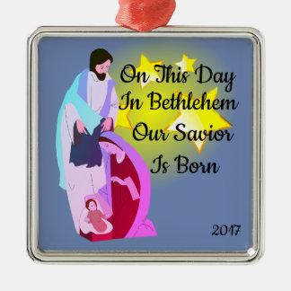 Halleluja!! Unser Retter ist geborene Verzierung Silbernes Ornament