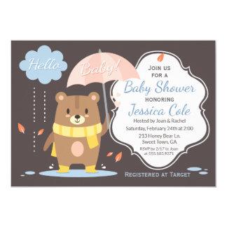 Hallo Baby-Bär u. Regenschirm-Babyparty-Einladung Karte