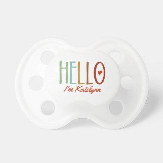 """""""Hallo bin ich…"""" Personalisiert Schnuller"""