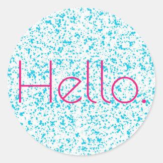 Hallo blaue dalmatinische Druck-Aufkleber Runder Aufkleber