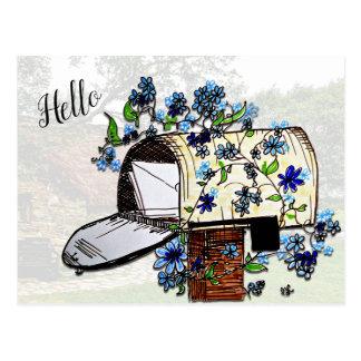 Hallo Briefkasten-Kunst-Raum-Postkarte Postkarte