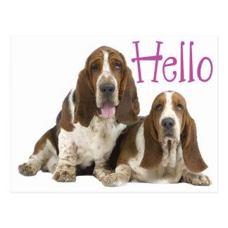 Hallo Dachshund-Jagdhund-Welpen-Hund lila Postkarte