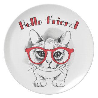Hallo Freund-Katze mit Glas-Platte Teller