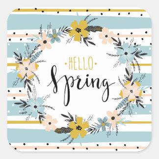 Hallo Frühling. Quadratischer Aufkleber