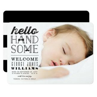 Hallo hübsche Baby-Jungen-Foto-Geburts-Mitteilung Karte