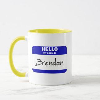 Hallo ist mein Name Brendan (blau) Tasse