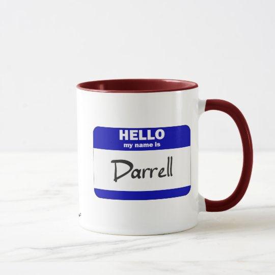 Hallo ist mein Name Darrell (blau) Tasse