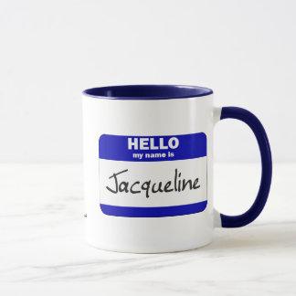 Hallo ist mein Name Jacqueline (blau) Tasse