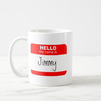 Hallo, ist mein Name… (Rot) Kaffeetasse