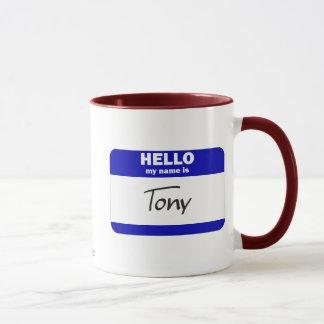 Hallo ist mein Name Tony (blau) Tasse