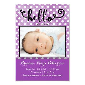 hallo lila Foto - Mitteilung der Geburts-3x5 Karte