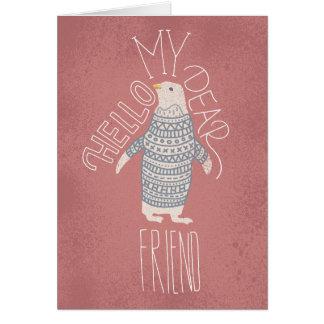 Hallo meine liebe Freund-Pinguin-Postkarte Karte