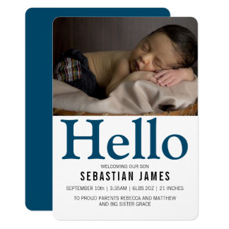 Hallo neues Baby-Blau personalisiert 12,7 X 17,8 Cm Einladungskarte