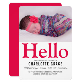 Hallo neues Baby-helles rosa personalisiertes 12,7 X 17,8 Cm Einladungskarte