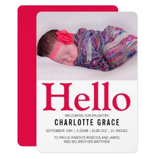 Hallo neues Baby-helles rosa personalisiertes Karte