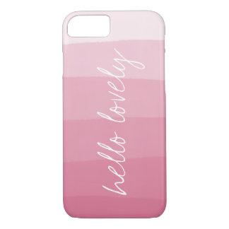 Hallo reizender rosa Aquarell-Steigungs-Streifen iPhone 7 Hülle