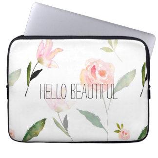 Hallo schönes Aquarell mit Blumen Computer Schutzhülle