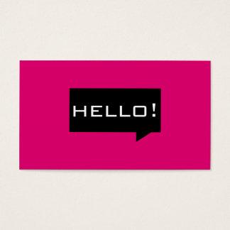 Hallo Spracheblasenrosa-Standard-Visitenkarten Visitenkarte