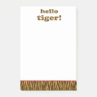 Hallo Tiger! Spaß-Zitat Tigerprint Post-it Klebezettel