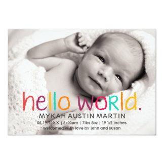 Hallo WeltFoto-Geburts-Mitteilung Karte