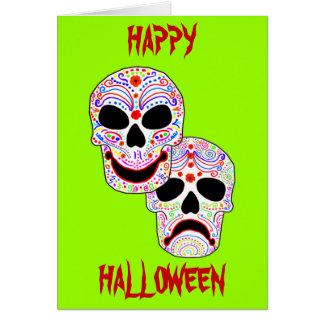 Halloween DOTD Komödie-Tragödie Schädel Karte