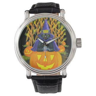 Halloween, Erwachsener, Uhr, Schwarzes, Katze, Uhr